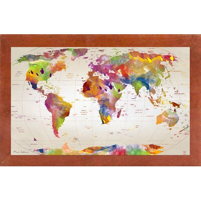 'Map of the World' Graphic Art Print Format: Affordable Canadian Walnut Medium Framed Paper, Size: 17