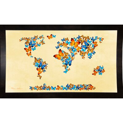 'Map of the World 1998 3' Graphic Art Print Format: Affordable Black Medium Framed Paper, Size: 17