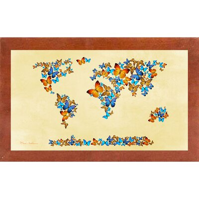 'Map of the World 1998 3' Graphic Art Print Format: Affordable Canadian Walnut Medium Framed Paper, Size: 17