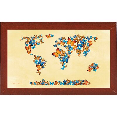 'Map of the World 1998 3' Graphic Art Print Format: Affordable Red Mahogany Medium Framed Paper, Size: 17