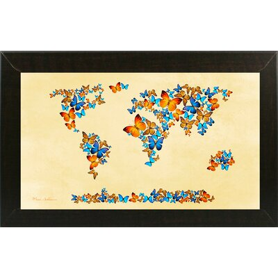 'Map of the World 1998 3' Graphic Art Print Format: Affordable Brazilian Walnut Medium Framed Paper, Size: 17