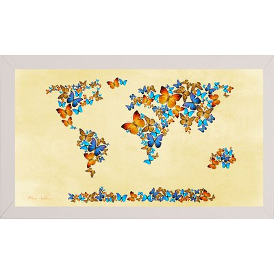 'Map of the World 1998 3' Graphic Art Print Format: Affordable White Medium Framed Paper, Size: 17