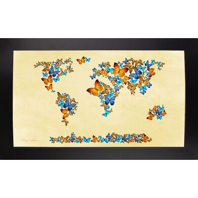 'Map of the World 1998 3' Graphic Art Print Format: Affordable Black Large Framed Paper, Size: 17
