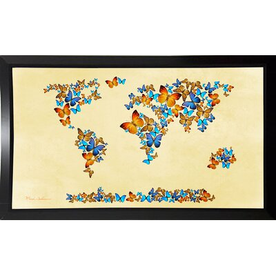 'Map of the World 1998 3' Graphic Art Print Format: Budget Saver Framed Paper, Size: 17