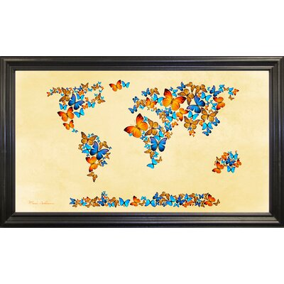 'Map of the World 1998 3' Graphic Art Print Format: Black Grande Framed Paper, Size: 17