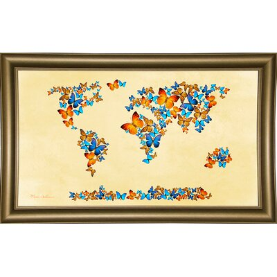 'Map of the World 1998 3' Graphic Art Print Format: Bistro Gold Framed Paper, Size: 17