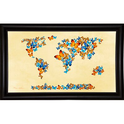 'Map of the World 1998 3' Graphic Art Print Format: Bistro Espresso Framed Paper, Size: 17