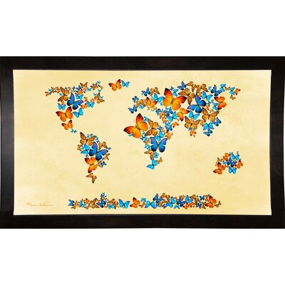 'Map of the World 1998 3' Graphic Art Print Format: Cafe Espresso Framed Paper, Size: 17