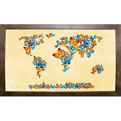 'Map of the World 1998 3' Graphic Art Print Format: Cafe Mocha Framed Paper, Size: 17