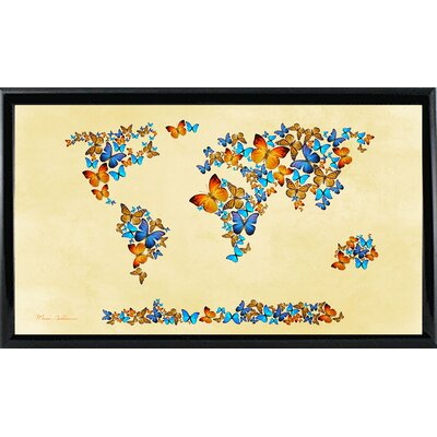 'Map of the World 1998 3' Graphic Art Print Format: Shiny Black Metal Framed Paper, Size: 17