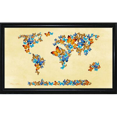 'Map of the World 1998 3' Graphic Art Print Format: Flat Black Metal Framed Paper, Size: 17