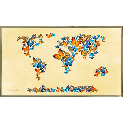 'Map of the World 1998 3' Graphic Art Print Format: Gold Metal Framed Paper, Size: 17
