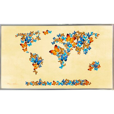 'Map of the World 1998 3' Graphic Art Print Format: Silver Metal Framed Paper, Size: 17