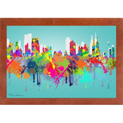 'New York 3' Graphic Art Print Format: Affordable Canadian Walnut Medium Framed Paper, Size: 17.5