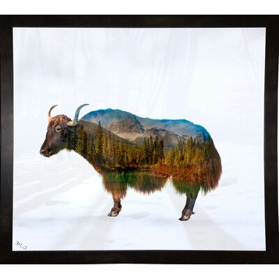 'Yak' Graphic Art Print Format: Affordable Black Medium Framed Paper, Size: 17.75