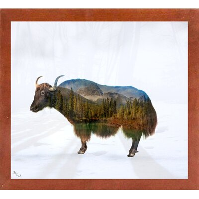 'Yak' Graphic Art Print Format: Affordable Canadian Walnut Medium Framed Paper, Size: 17.75