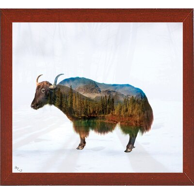 'Yak' Graphic Art Print Format: Affordable Red Mahogany Medium Framed Paper, Size: 17.75