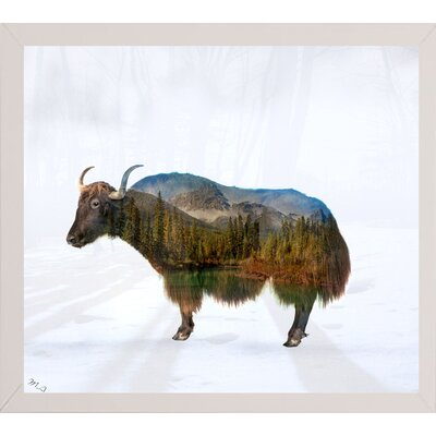 'Yak' Graphic Art Print Format: Affordable White Medium Framed Paper, Size: 17.75