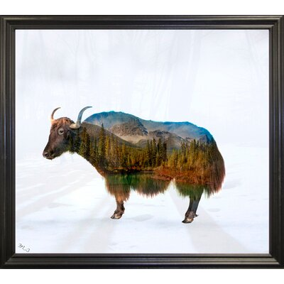 'Yak' Graphic Art Print Format: Black Grande Framed Paper, Size: 17.75