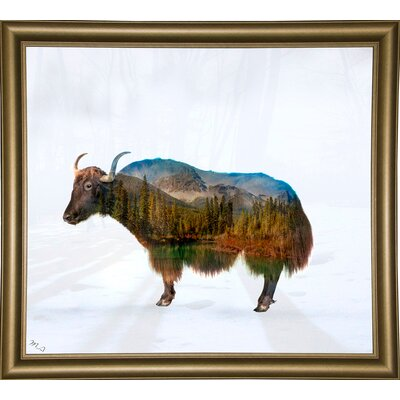 'Yak' Graphic Art Print Format: Bistro Gold Framed Paper, Size: 17.75