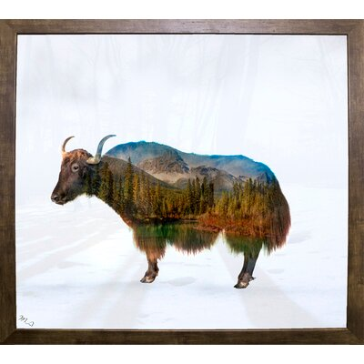 'Yak' Graphic Art Print Format: Cafe Mocha Framed Paper, Size: 17.75