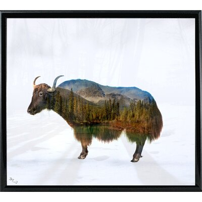 'Yak' Graphic Art Print Format: Black Metal Framed Paper, Size: 17.75
