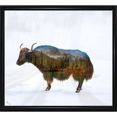 'Yak' Graphic Art Print Format: Flat Black Metal Framed Paper, Size: 17.75