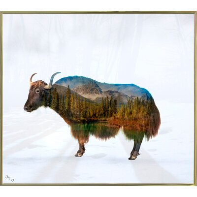 'Yak' Graphic Art Print Format: Gold Metal Framed Paper, Size: 17.75