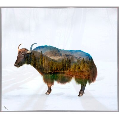 'Yak' Graphic Art Print Format: White Metal Framed Paper, Size: 17.75