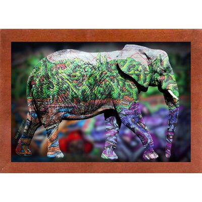 'Elephant' Graphic Art Print Format: Affordable Canadian Walnut Medium Framed Paper, Size: 17.75