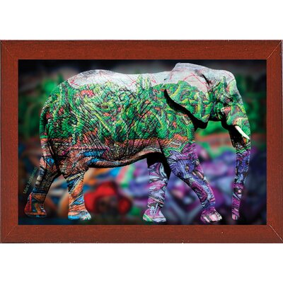 'Elephant' Graphic Art Print Format: Affordable Red Mahogany Medium Framed Paper, Size: 17.75