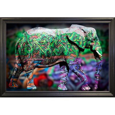 'Elephant' Graphic Art Print Format: Black Grande Framed Paper, Size: 17.75