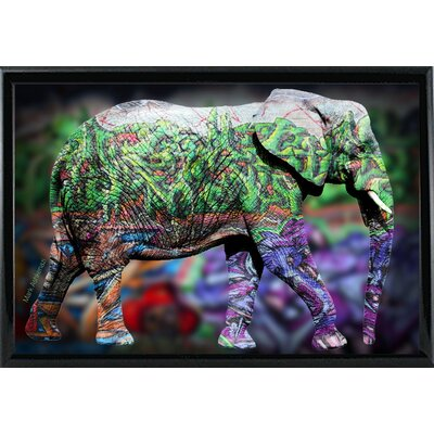 'Elephant' Graphic Art Print Format: Shiny Black Metal Framed Paper, Size: 17.75