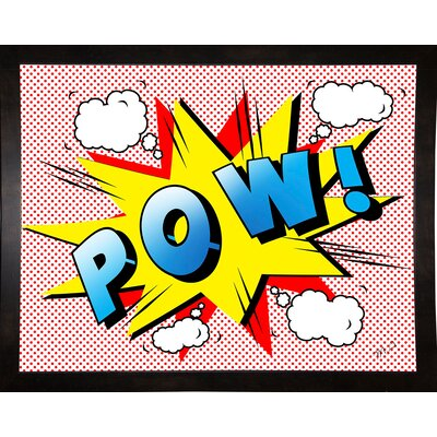 'Pow 2' Graphic Art Print Format: Affordable Black Medium Framed Paper, Size: 18.25
