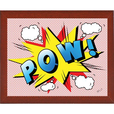 'Pow 2' Graphic Art Print Format: Affordable Red Mahogany Medium Framed Paper, Size: 18.25