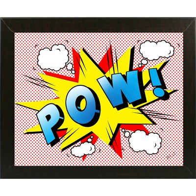'Pow 2' Graphic Art Print Format: Affordable Brazilian Walnut Medium Framed Paper, Size: 18.25