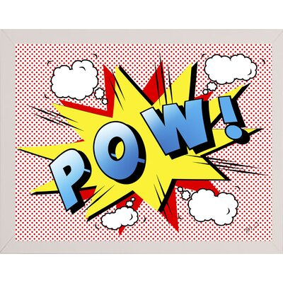 'Pow 2' Graphic Art Print Format: Affordable White Medium Framed Paper, Size: 18.25