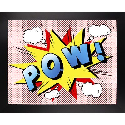 'Pow 2' Graphic Art Print Format: Affordable Black Large Framed Paper, Size: 18.25