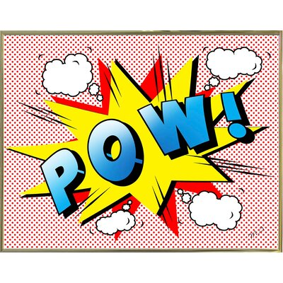 'Pow 2' Graphic Art Print Format: Gold Metal Framed Paper, Size: 18.25