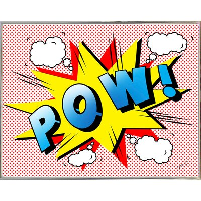 'Pow 2' Graphic Art Print Format: Silver Metal Framed Paper, Size: 18.25