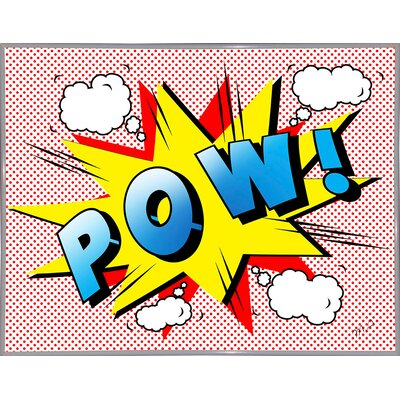 'Pow 2' Graphic Art Print Format: White Metal Framed Paper, Size: 18.25