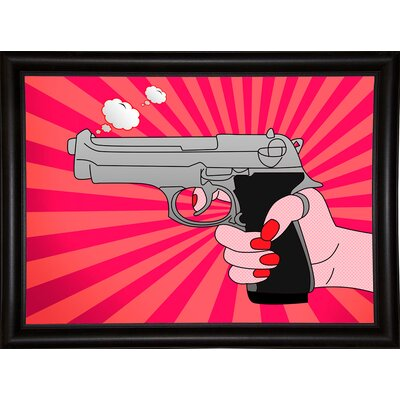 'Stock Vector Pointed Gun Illustration' Graphic Art Print Format: Bistro Espresso Framed Paper, Size: 19