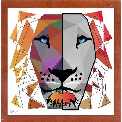 'Lion' Graphic Art Print Format: Affordable Canadian Walnut Medium Framed Paper, Size: 20