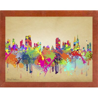 'New York 1' Graphic Art Print Format: Affordable Canadian Walnut Medium Framed Paper, Size: 20