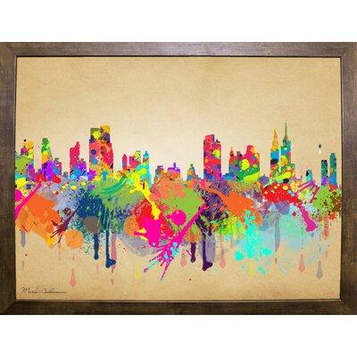 'New York 1' Graphic Art Print Format: Cafe Mocha Framed Paper, Size: 20