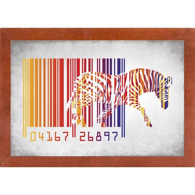 'Zebra Barcode' Graphic Art Print Format: Affordable Canadian Walnut Medium Framed Paper, Size: 20