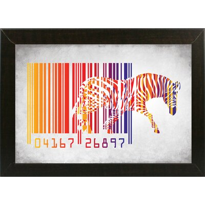 'Zebra Barcode' Graphic Art Print Format: Affordable Brazilian Walnut Medium Framed Paper, Size: 20