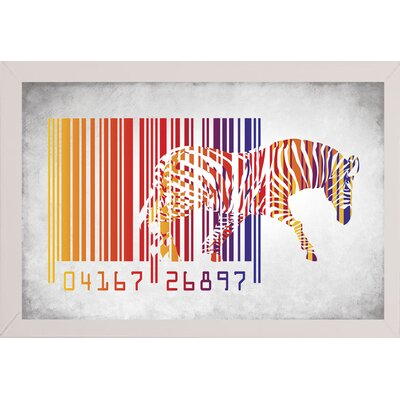 'Zebra Barcode' Graphic Art Print Format: Affordable White Medium Framed Paper, Size: 20