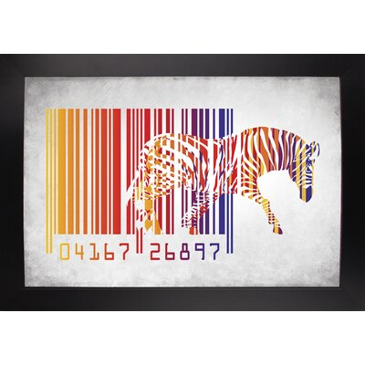 'Zebra Barcode' Graphic Art Print Format: Affordable Black Large Framed Paper, Size: 20