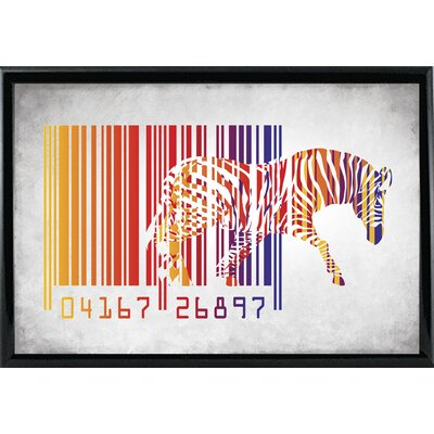 'Zebra Barcode' Graphic Art Print Format: Shiny Black Metal Framed Paper, Size: 20
